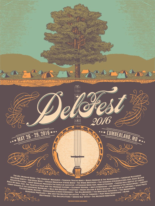 DelFest 2016 Status Serigraph Concert Poster Framing (poster not included)
