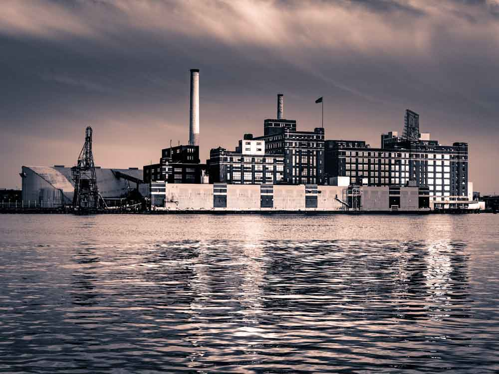 Baltimore, MD Domino Sugar Plant Black and White Canvas or Photo Paper