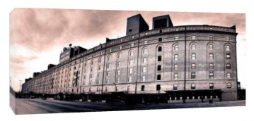 Baltimore, MD Camden Yards Warehouse B & W Panoramic - Canvas or Photo Paper