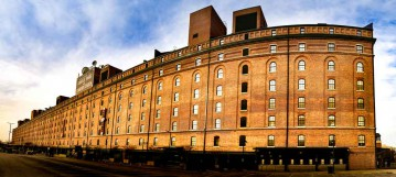 Baltimore, MD Camden Yards Warehouse Panoramic - Canvas or Photo Paper