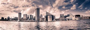Baltimore, MD Panoramic City Skyline B&W Canvas or Photo Paper