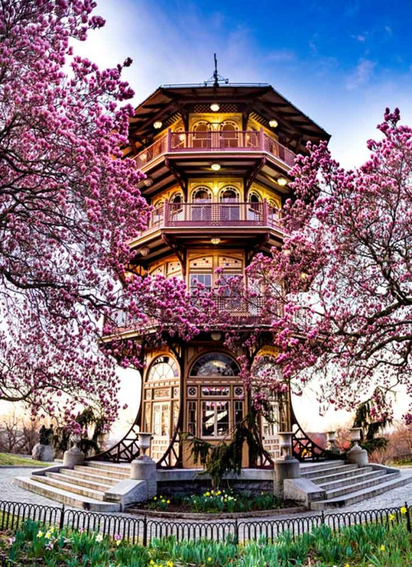 Baltimore Md Patterson Park Pagoda In Spring Metallic